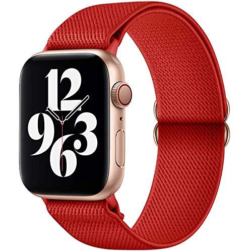 GBPOOT Correa de Compatible con Apple Watch 38mm 40mm 42mm 44mm,Correa Solo Loop Deportiva con Nylon de Repuesto Compatible Iwatch Serie 6/SE/5/4/3/2/1,Rojo puro,42/44mm
