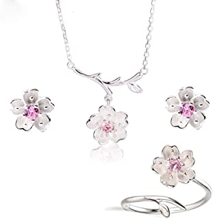 Tattooshe Cherry Blossom Flowers Jewelry Set Necklace Earring Ring Flower Pendant Clavicle Chain for Women and Girl