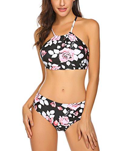 Damen Split Badeanzüge Blumendruck Streifen Bikini Neckholder Bademode Push up Swimsuit Zweiteilige Schwimmanzug für Sommer, Farbe: Blumen 2, Gr. XL/EU 46