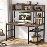 Tribesigns Computer Desk with Hutch, 52 inches Large Office Writing Desk Study Table Workstation with 2-Tier Side Shelf & Bottom Storage Shelf for Home Office Use