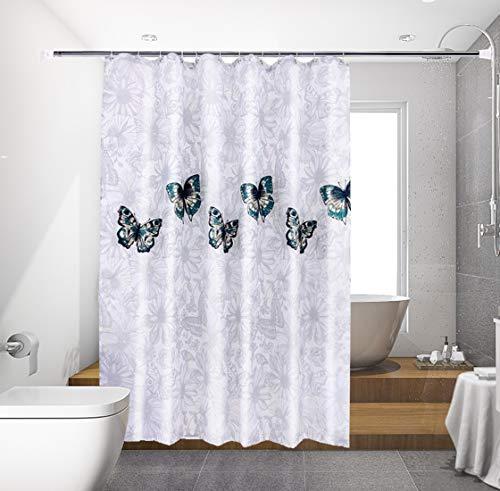 Bgfuni Duschvorhang Wasserdicht, Duschvorhänge, Anti-Schimmel, Verdicken, Waschbar Anti-Bakteriell Schmetterling Duschvorhäng aus Polyester Badvorhang mit 12 Duschvorhängeringen, 180 x 200 cm (Grau)