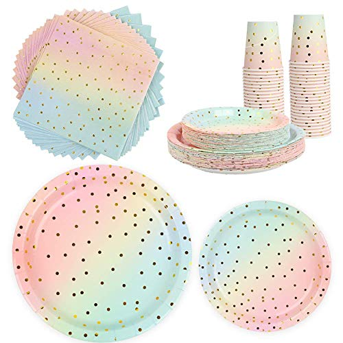 200 Gold Dot Disposable Paper Party Plates set 50 Dinner Plates, 50 Dessert Plates, 50 Cups, 50 Napkins, Dinnerware Set for Birthday Baby Shower Wedding Rainbow Party - Serves 50