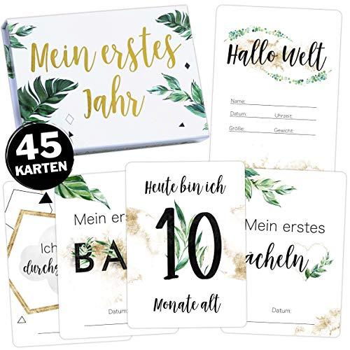 45 Baby Meilensteinkarten Tropical Green Milestone Cards Meilenstein Karten Geschenkset + Geschenkbox schöne Geschenkidee zur Geburt, werdende Mutter, Babyparty