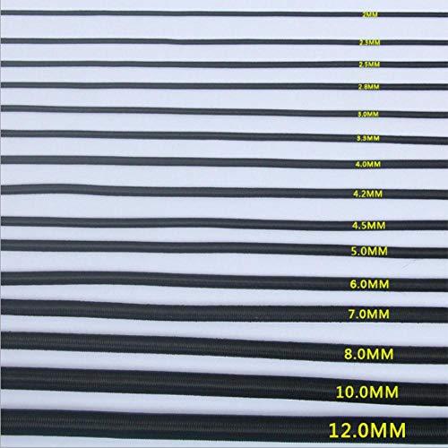 LLAAIT 5 Metri Molto 1,0-12mm Nero Corda Elastica all'Ingrosso Shock Cord per Trampolino e sedie e Bungee, Nero 3,5 mm, Cina