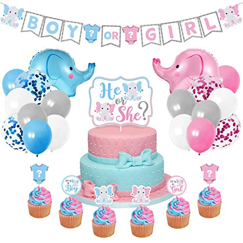 Elephant Gender Reveal Party Supplies Blue and Pink Baby Shower Decor Elephant Banner He or She Cake Topper Cupcake Toppers Latex Balloons for Boy or Girl Baby Shower Welcome Baby Supplies