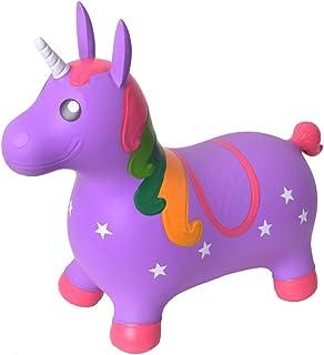 TE-Trend Caballo Saltos Animal de Brincar Unicornio Caballo hasta 50kg Resistente en Púrpura O Rosa - Lila, Morado