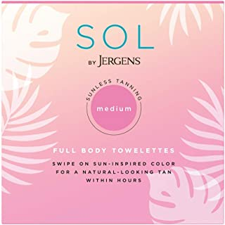 SOL by Jergens Full Body Self-Tanning Towelettes, 6 Count Streak-free Natural-Looking Self Tanning Wipes, Infused with Coconut Water and Vitamin E, Tan-infused Cloths for Sun-inspired Color in 4 Hours