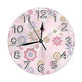 DZCP-y Reloj de Pared Redondo Sin tictac Flores Rosadas Prec