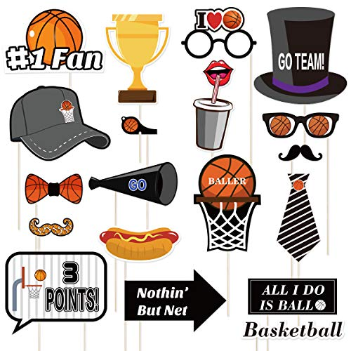 BESTOYARD Basketball Photo Booth Requisiten Sport Thema lustige Party Papier Foto Requisiten für Jungen Basketball Fans Geburtstag Party Favors (20 Stück)