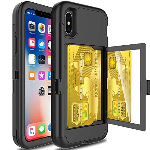 iPhone XR Wallet Case for Women,Auker Shockproof Card Holder+Mirror Wallet Case with Kickstand Heavy Duty Hard PC+Rugged Military Grade Rubber Full Body Hybrid Protective Case for iPhone XR