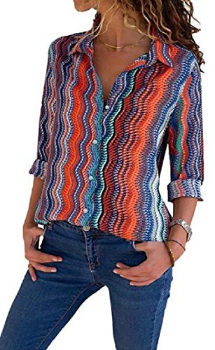 Jotebriyo Mujeres Manga Larga Camisa Ray amás tamaño botón Abajo Color Bloque Camisa Blusa Top 3 L