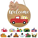Seasonal Red Truck Welcome Door Sign Wooden Round Door Hanger with Buffalo Plaid Bow Interchangeable Home Sign Rustic Farmhouse Home Decor Ideas 12 Inches Brown