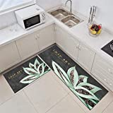 Kitchen Rug,L Shape 2 Pieces Kitchen Mats Runner Set Green Flowers Pattern Cushioned Anti-Fatigue Kitchen Rug for Floor Waterproof Washable Rugs for Kitchen Laundry Room Hallway Entry,50X80 Cm+50X16