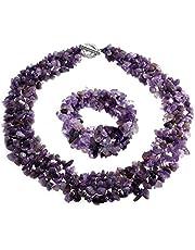 Bling Jewelry Colore Gemstone Chips Cluster Multi Strand Dichiarazione Bib Collar Estratto Bracciale Bracciale Gioielli Set per Le Donne