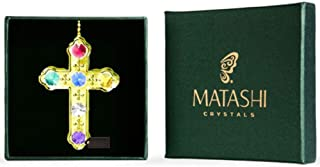 Matashi Crystal Studded Religious Cross Ornament (Colored Crystals, Gold)