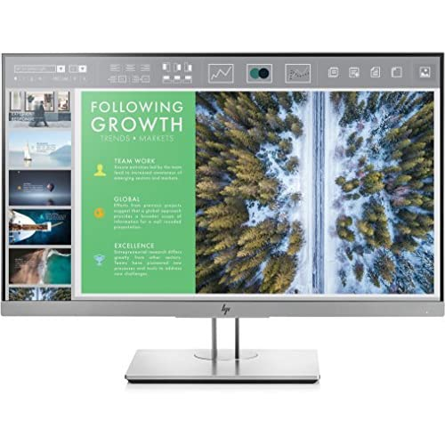 HP EliteDisplay E243 Monitor 23.8 Pollici, Display IPS Antiriflesso, Risoluzione 1920x1080, Schermo FHD Micro-Edge, Pannello BrightView, Regolabile in Altezza, Pivoting 90°, Comandi Integrati, Argento