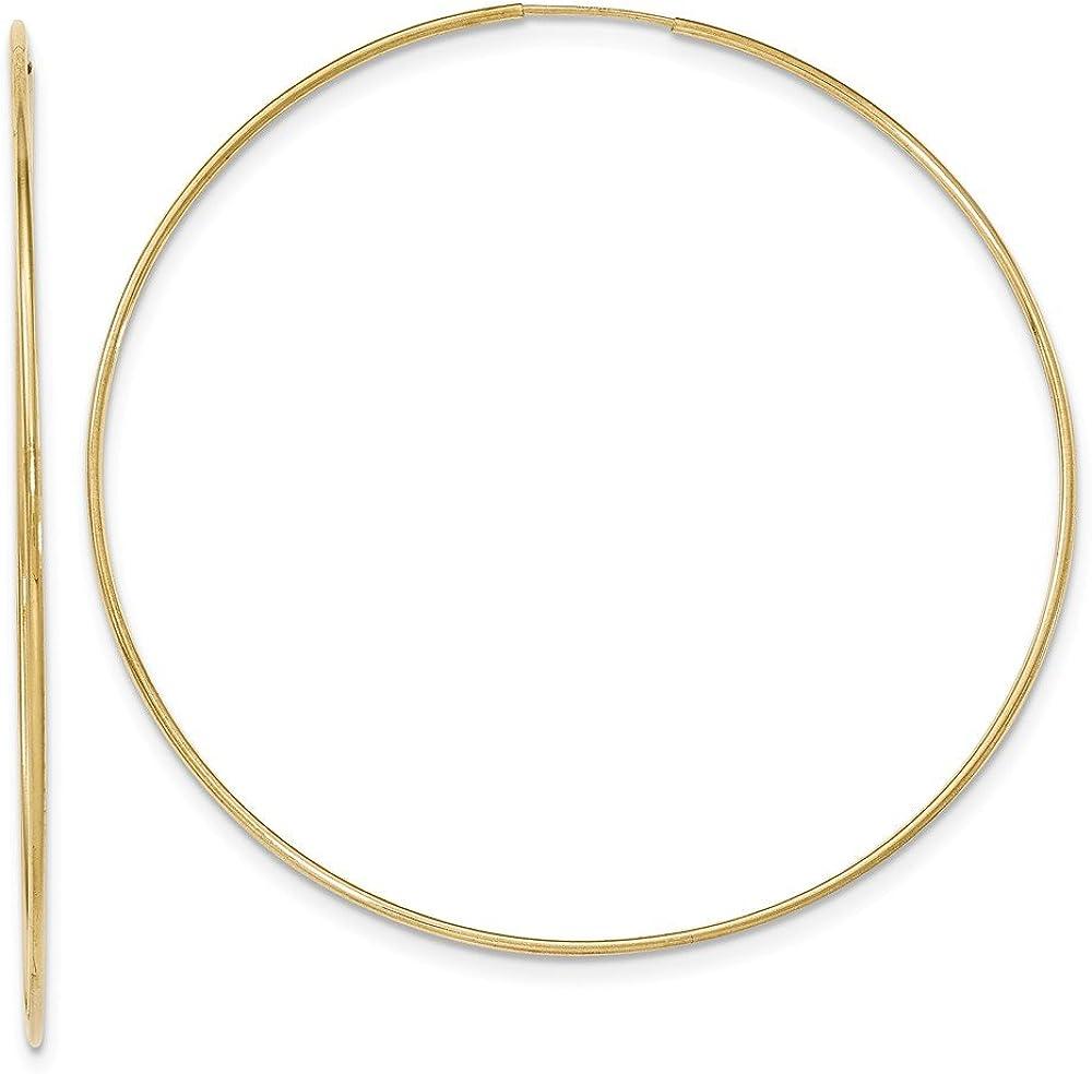 10k Polished Endless Tube Hoop Earrings
