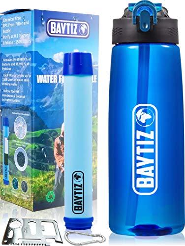 BAYTIZ- Trinkflashe + Strohhalm Filter + Carabiner - Wasserfilter Outdoor mit Aktivkohle - Sport Überleben Campingplatz Wandern Survival Wasser Flashe Stroh Wasseraufbereiter Life Filtersystem Straw