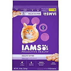 Contains one (1) 16 pound bag Of Iams proactive health healthy kitten dry cat food with chicken Chicken is the #1 ingredient in this protein rich kitten food made to help your kitten develop and grow into a strong, lean, healthy adult cat Nutrients l...