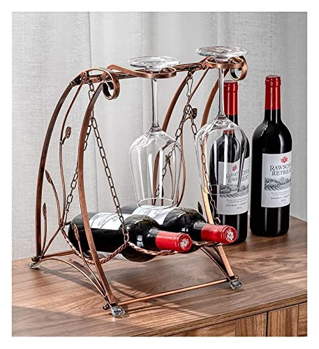 Estante de vino Decoración for el hogar Moderno Creativo Copa de vino Rack de almacenamiento al revés Botella de vino Botella de vino Pequeño estante de vino Pequeño Estante de vino Libre de madera d