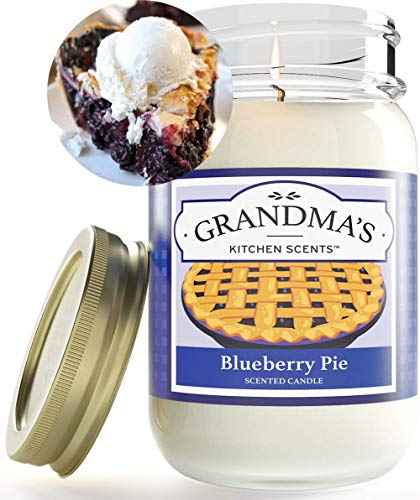 Blueberry Pie Scented Candles for Home   Non Toxic Long Lasting Soy Candles   Delicious Scent   Large 16 oz Mason Jar   Hand Made in The USA