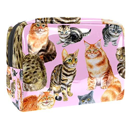 Luggage Cosmetic Cases Funny Cat Black Brown Portable Travel Makeup Cosmetic Bags Organizer Multifunction Case Toiletry Bags for Women 7.3x3x5.1in