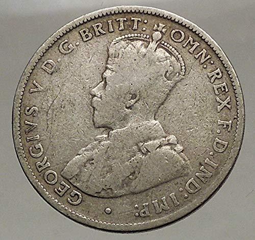 1915 AU 1915 AUSTRALIA – FLORIN Large SILVER Coin King...