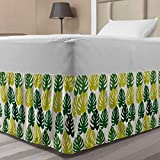 Ambesonne Tropical Bed Skirt, Monstera Leaves in Gradient Monochrome Tones Exotic Minimal Graphic, Elastic Bedskirt Dust Ruffle Wrap Around for Bedding Decor, Twin/Twin XL, Lime Green