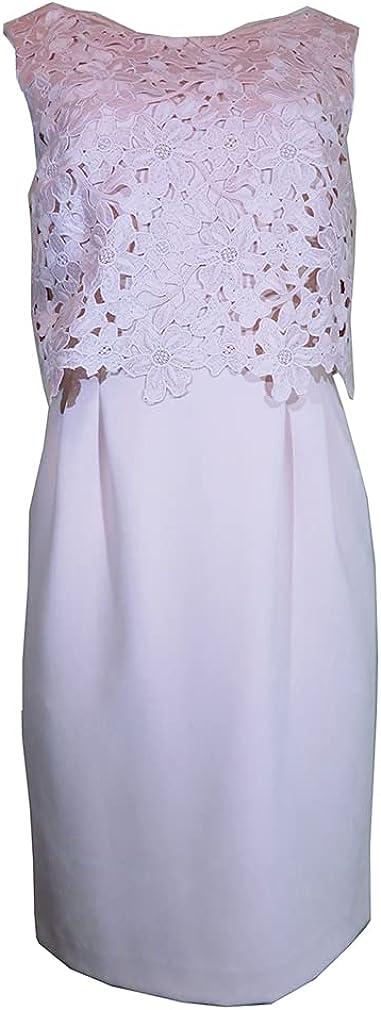 Tahari by ASL Women's Sleeveless Lace Dress, Size-8 Blush Pink