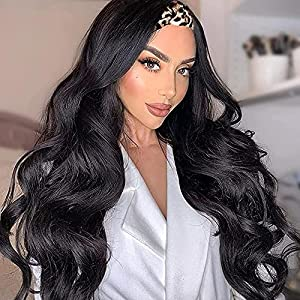 Glueless Headband Wig Loose Body Wave Synthetic Hair Extensions Wigs For Women None Lace Front Wig With Headwraps150% Density 26 inch Long Hair Band Wig Long Black Color Wig (1B)