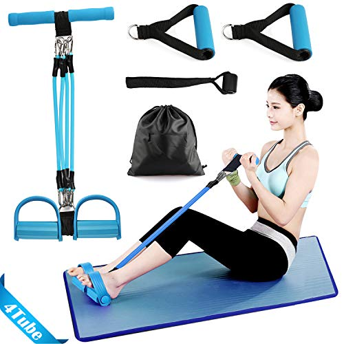 Oneyi Pedal Resistance Band Elastic Pull Rope Fitness Sit-up Exercise at Home Gym Yoga Workout Equipment Multifunction Pedal Arm Leg Trainer Slimming Bodybuilding Abdominal Training
