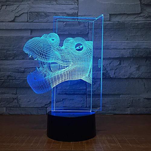 YOUPING Lámpara de ilusión 3D, luz nocturna con cabeza de dinosaurio, mando a distancia, 7 cambios de color, decoración de Navidad para habitación de bebé