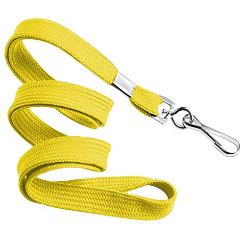 MIFFLIN Flat Lanyards for Face Mask & ID Badges (Yellow, 36 Inch, 25 Pack), Comfortable Neck Straps