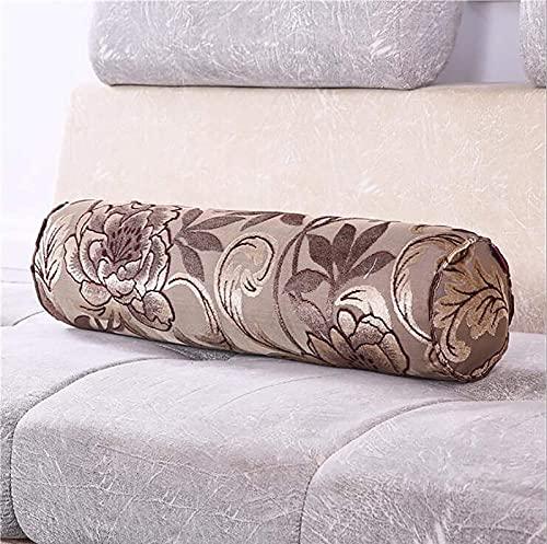 Almohada cilíndrica,almohada larga de algodón, almohada lumbar, protección columna cervical,jacquard almohada cilíndrica larga funda de almohada,cojín lumbar extraíble lavable H,20 * 80cm