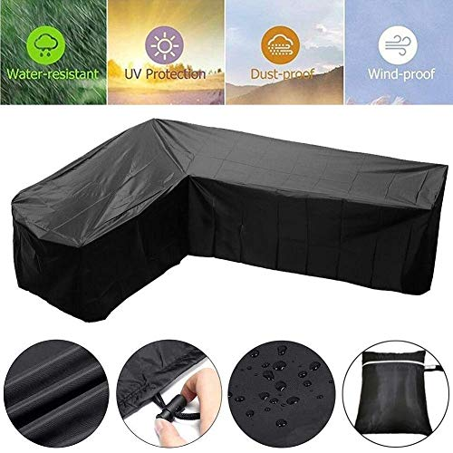 FWZJ Patio Furniture Covers Waterproof Heavy Outdoor L Shape Sofa Protective Case Moisture Proof Anti-UV, 2 Colors (Color : Black, Size : 255x255x85x78cm)