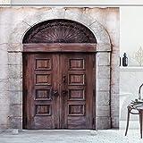 ABAKUHAUS Rustikal Duschvorhang, Gewölbte Venetian Tür, Wasser Blickdicht inkl.12 Ringe Langhaltig Bakterie und Schimmel Resistent, 175 x 180 cm, Braune Creme
