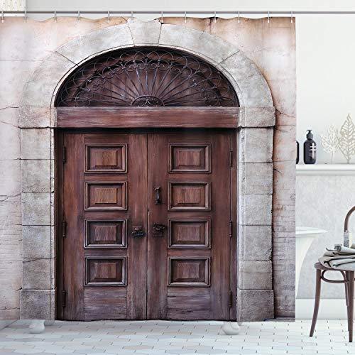 ABAKUHAUS Rustiek Douchegordijn, Overspannen Venetiaanse Deur, stoffen badkamerdecoratieset met haakjes, 175 x 180 cm, De bruine