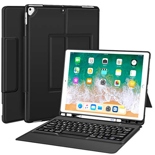 "Sounwill ipad pro 12.9 Case with Keyboard Compatible for ipad pro 12.9"" 2015/2017, Ultra-Thin PU Leather Silicon Rugged Shock Keyboard Stand Case with Pencil Holder (Not Fit for 2018 New ipad)-Black"