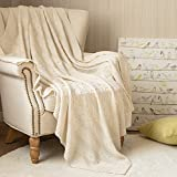 Throw Blanket Lightweight 50' x 60' Cable Knit Sweater Style Year Round Indoor Outdoor Accent Throw for Sofa Comforter Couch Living Room Ivory to Beige 1 Panel