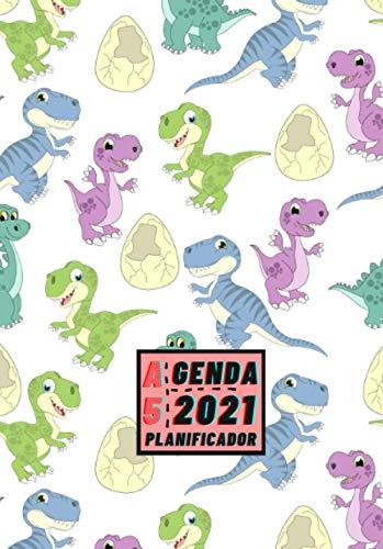 Agenda 2021 Planificador A5: Diseño de Portada Dinosaurios Bebe - Bonitas Agendas con Planificador semanal y mensual - Pequeña y de bolsillo para ... eventos y fechas importantes a semana vista