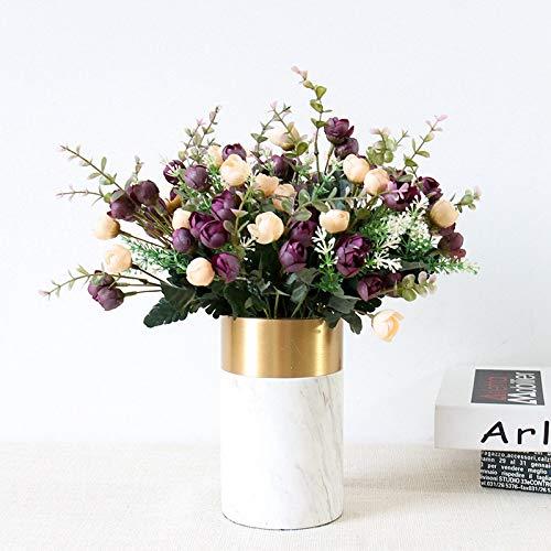 Künstliche Blumen Rose Künstliche Blumen Wein Farbe Kleine Bouquet DIY nach Hause Wedding Herbst-Dekoration Mini Silk Fälschungs-Blumen-Wohnzimmer Tischdekoration (Color : Purple)