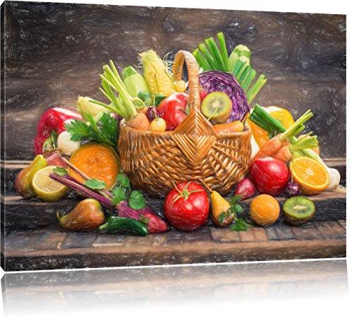 Pixxprint Frisches Obst und Gemüse im Korb ALS Leinwandbild/Größe: 80x60 cm/Wandbild/Kunstdruck/fertig bespannt