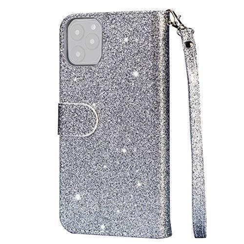 BKAUK für 11 Pro Glitter Leder Brieftasche Huelle Rei?Verschluss STO?Fest Flip bdeckung 5,8 Zoll-Silber