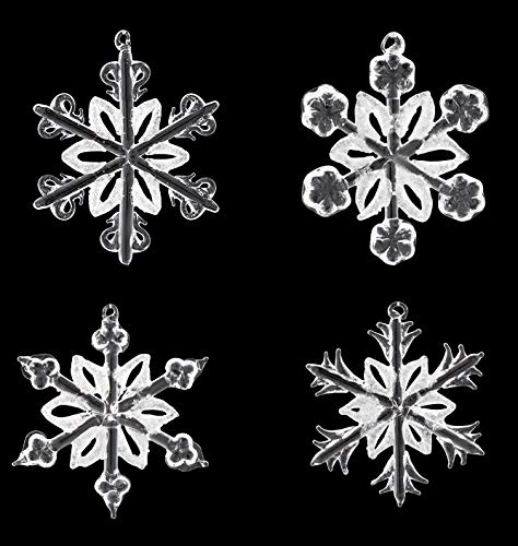 XmasExp Glass Snowflake Ornaments Christmas Tree Winter Decorations Clearly Decorative Hanging Ornaments for Home Windows Room Decoration(Set of 4)