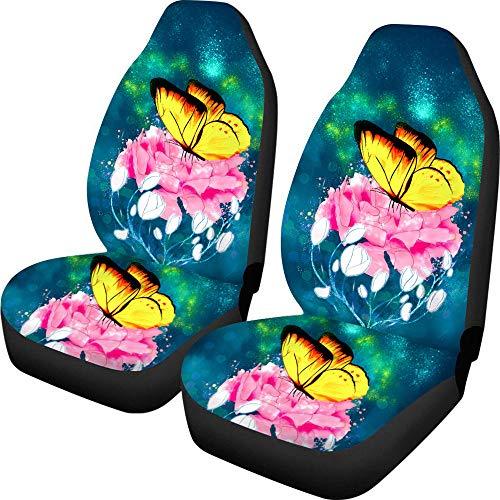 Juego de 2 piezas de fundas para asiento delantero, transpirable, universal para asiento de coche, con diseño de flores, fácil de instalar y limpiar, apto para camiones, furgonetas, SUV, etc.