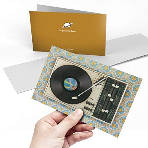 Grußkarte (A5) – Retro Old Schallplattenspieler Musik Blanko Grußkarte Geburtstag Kinderparty Jungen Mädchen #24109