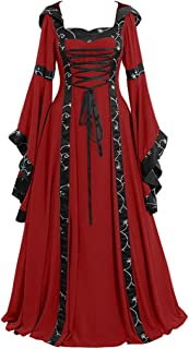 Womens Renaissance Costumes Medieval Irish Over Dress Victorian Retro Gown Cosplay LIM&Shop ❤ Long Dress Lace Up Vintage