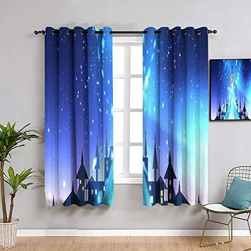 Sdustin Fro-zen elsa cortinas opacas para dormitorio 157,5 x 182,8 cm, oscurecimiento y aislamiento térmico cortinas