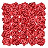 Rose Artificielle Rouge (50Pcs) - Réaliste Mousse Faux Roses avec Tige 19cm Artificielle Fleurs pour DIY Bouquets de Mariage, Centres de Table, Home, Parti Décorations, Arrangements Jardin Floraux