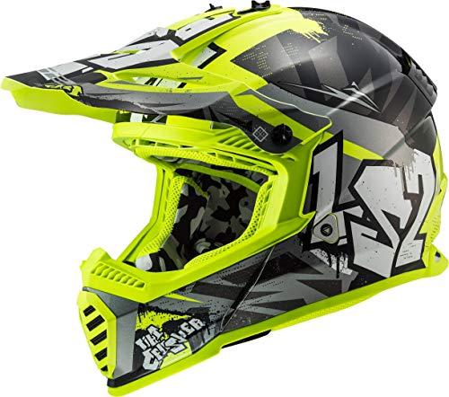 LS2 404373412XS - Casco de motocross MX437 Fast Evo Crusher, unisex, negro mate y amarillo fluorescente, talla XS